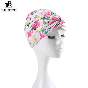 LE BESI 2017 Sexy Flower Women's Swimming Cap Binder Beach Quick Dry Pleated knot Girls Elastic Bathing Swimming Pool Hat