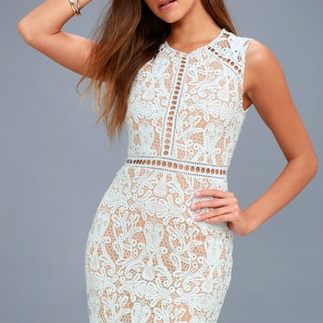 Dream Life Light Blue Lace Bodycon Dress