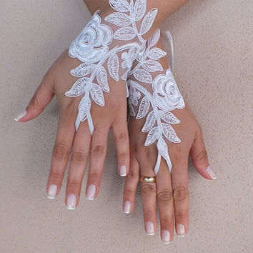 white lace glove,  Wedding gloves free ship happiness rose bridal gloves fingerless lace gloves white gloves french lace gloves free ship