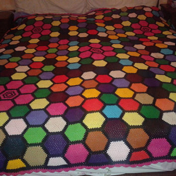 Crochet Hexagon  Blanket ,Motif Afghan  with Fringes /Throw /Twin Bed/ VINTAGE from 1960's