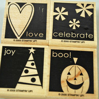"Stampin Up Stamp Set Retired 2005 Set ""Say It Simply"" Near Mint Rubber Stamp Set Halloween Christmas Valentines Birthday 1 Stamp Gently Used"