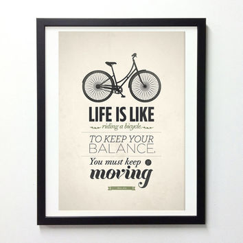 Life Quote typography poster - Life is like riding a bicycle