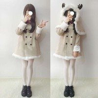 Japanese Kawaii winter Warm Deer Cloak+Coat SD01274