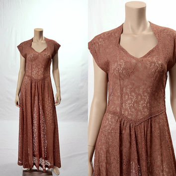 Vintage 60s Sheer Dusty Rose Lace Maxi Dress 1960s Bohemian Prom Wedding Floral Dress Victorian Boho Hippie Gown