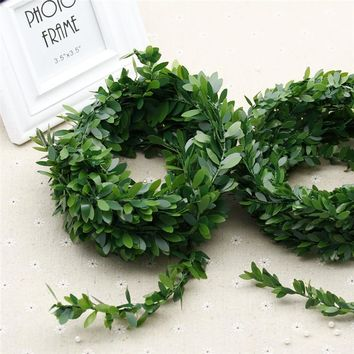 375CM / PCS cheap man-made ever spring autumn flower artificial plant green garland plant rattan leaves home decoration wedding