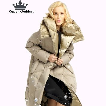 2017 Queen Goddess design for cocoon coat winter long duck down jacket women high quilty parkas outwear hooded clothing