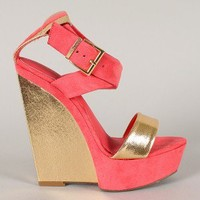 Liliana Vdara-1 Two Tone Criss Cross Open Toe Wedge