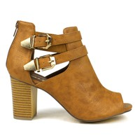 Mark and Maddux Eddi-02 Cut-out Short Heel Bootie in Tan @ ippolitan.com