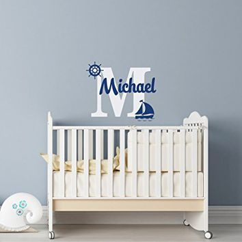 Sailboat Name Decal Ship Wheel Decor - Personalized Name Wall Decal Boy - Underwater Wall Decal - Nautical Name Wall Decal Baby Boy Nursery