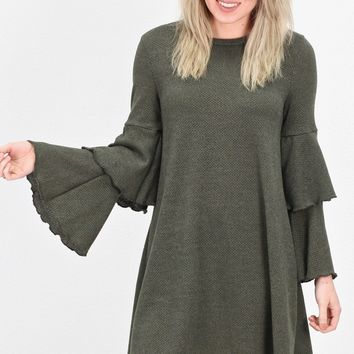 Layered Ruffle Sleeve Knit Sweater Dress {Olive}