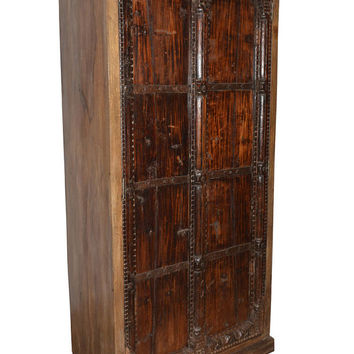 HUGE Antique Vintage  Armoire Wardrobe Indian Teak Furniture Spanish Moroccan Mediterranean Boho Shabby Chic Interiors