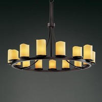 Justice Design Group CNDL-8715-14-AMB-DB CandleAria Dakota Fifteen-Light Ring Chandelier