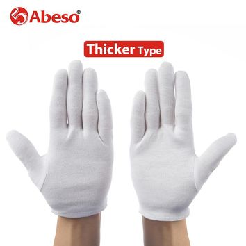 ABESO 10 pairs thicken White 100% Cotton Ceremonial gloves for male female Serving /drivers Gloves Jewelry  Gloves A6003