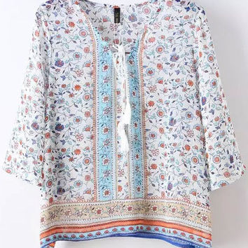 Summer Pure Fresh Floral Printed Belt Half Sleeve Blouse