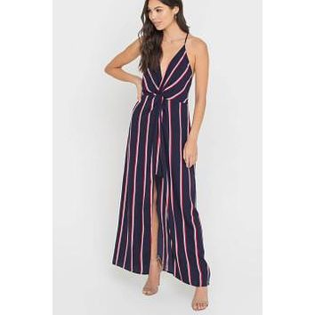 Front Twist Dress with Maxi Overlay - Navy Red Stripe