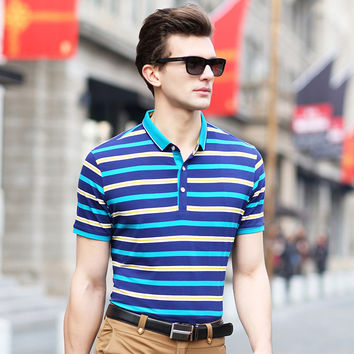 Summer Men Stripes Pullover Cotton Casual Short Sleeve Tops T-shirts [6543963523]