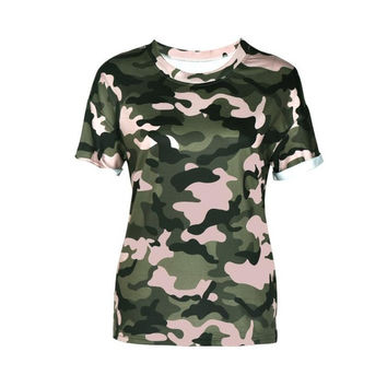 Women's Tshirt Fashion  Short Sleeve Camouflage Print T-Shirt Tops Tees #23 SM6
