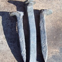 3 Railroad Spikes--Primitive--Rustic--Instant Collection--Altered Art Supply--Collectibles--Masculine Decor--Rusty Iron Nails-Steampunk