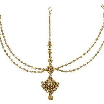 CREYV2S Unique Ethnic Style Stunning Gold Plated Indian Matha Patti Head Partywear Jewelry for Womens