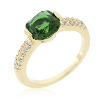 Green Cushion Cut Cubic Zirconia Engagement Ring, size : 05