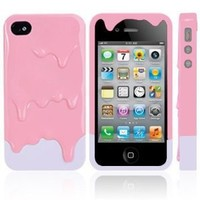 Melt Ice Cream Detachable Hard Case for iPhone 4S/iPhone 4 Pink and White