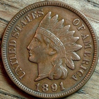 1891 indian penny AU coin beautiful earlier date coin