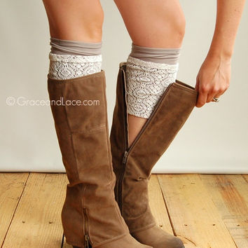 SALE London Lace Boot Cuffs- LIGHT GREY lace boot topper boot cuff-faux legwarmers-leg warmers layered lace cuff by Grace and Lace and Grace