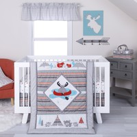Moose Canoe 4 Piece Crib Bedding Set