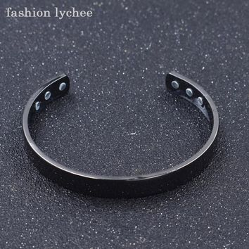 fashion lychee New Arrival Magnetic Health Care Bracelet Rose Gold Black Copper Bangle Unisex Jewelry Gift