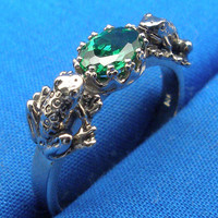 2 Frogs Ring, Green Cubic Zirconia, Hand Crafted Sterling Silver, size 1 2 3 4 5 6 7 8 9 10 11 12