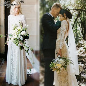 Lace Bohemian Wedding Dresses French Lace Long Sleeve Boho Beach Wedding Dress Open Back Bridal Gowns vestido de noiva 2017