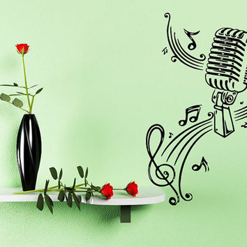 Wall Sticker Decal Room Decor Art Music Microphone With Music Notes 1328