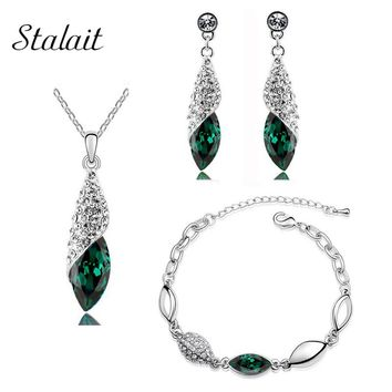 Horse Eye Shaped Full Drilling Crystal Rhinestone Green Necklace Water Drop Earring Bracelet Jewelry Set For Mother's Gift