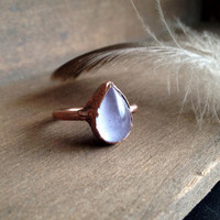 Purple Glass Ring - Tiny Ring - Unique Ring - Teardrop Ring - Copper Ring - Small Ring - Stacking Ring - SIZE 6