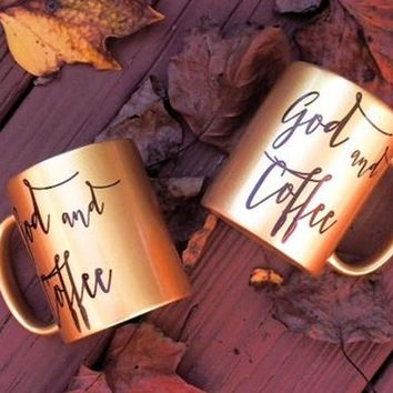 God and Coffee Gold Coffee Mug