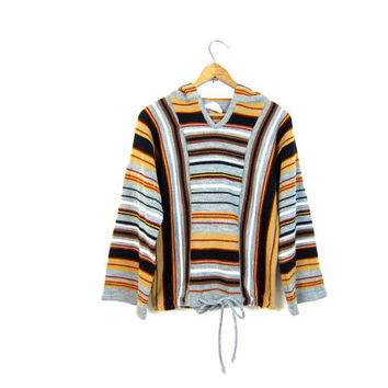 70s Striped Pullover Hoodie Sweater Hippie Boho Knit Sweater with Hood Slouchy Gray Orange Drawstring Hooded Sweater Ethnic Look Medium