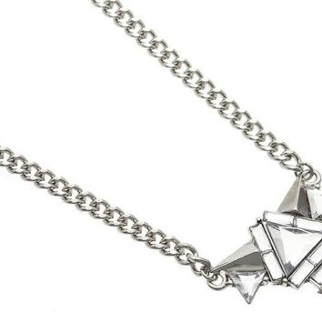 Silver Spikes Necklace with Faceted Glass Beads