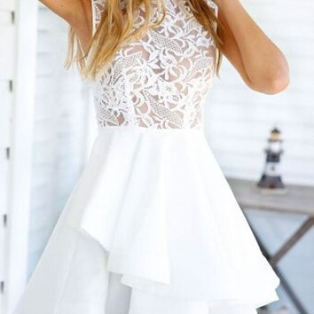 White Plain Lace Hollow-out Zipper Double-deck Mini Flax Blend Dress