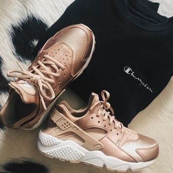 One-nice™ NIKEAIR Huarache Running Sport Casual Shoes Sneakers Rose golden H-AA-SDDSL-KHZHXMKH