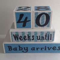 Baby Countdown Wood Blocks/Weeks Until Baby Arrives - Blue and White