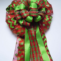 Red Lime Green Christmas Tree topper Bow Red Green Plaid Bow Chevron Polka Dots Christmas Bow Red and Lime Tree Decoration Wreath Bow