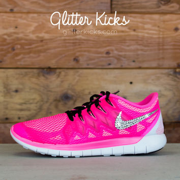 Nike Free Run 5.0 Glitter Kicks Running Shoes Pink/White worn one time