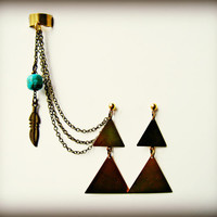 triangle ear cuff and earrings, ear cuff with feather and turquoise, tribal earrings, tribal ear cuff