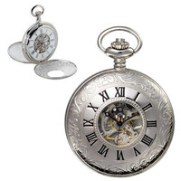 Premium Silver Window Pocketwatch with Chain - Inscribed Numerals