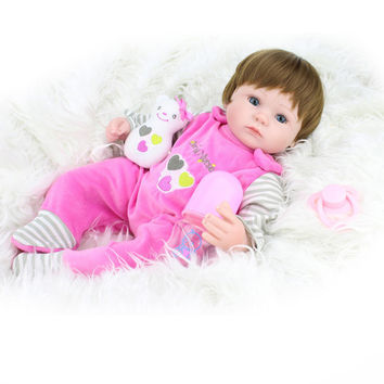45cm Silicone Reborn Baby Doll kids Playmate Gift For Girls Baby Alive Soft Toys For Bouquets Doll Bebe Reborn