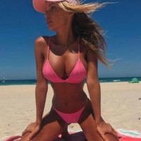 2018 Sexy Solid Color Two-Piece Swimsuit