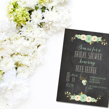 Printable Rustic Chalkboard Blue Flower bridal shower invitation