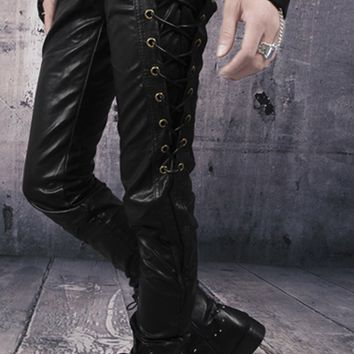 Men's Vegan Leather Pants with Laced Side Panels