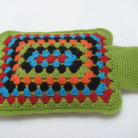 Hot Water Bottle Cover Cosy Granny Squares Crochet Handmade Gift
