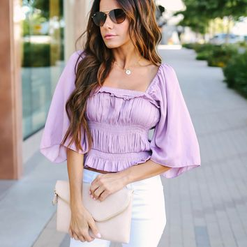 Glam Gal Smocked Crop Top - Lilac - FINAL SALE